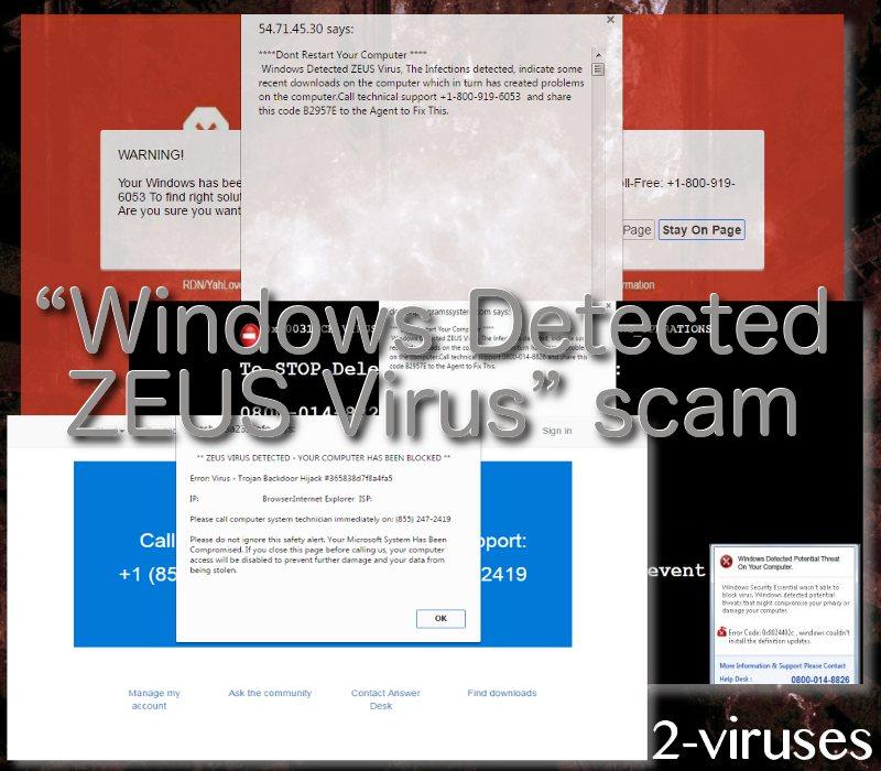 """""""Windows Detected ZEUS Virus"""" scam"""